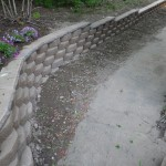 Retaining wall alongside the garage